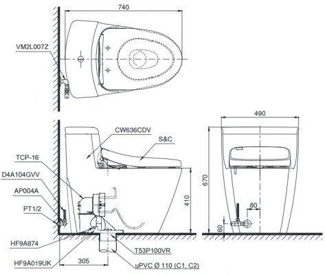 Bản vẽ bồn cầu 1 khối TOTO MS636DT2
