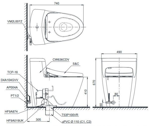 Bản vẽ bồn cầu 1 khối TOTO MS636DT8