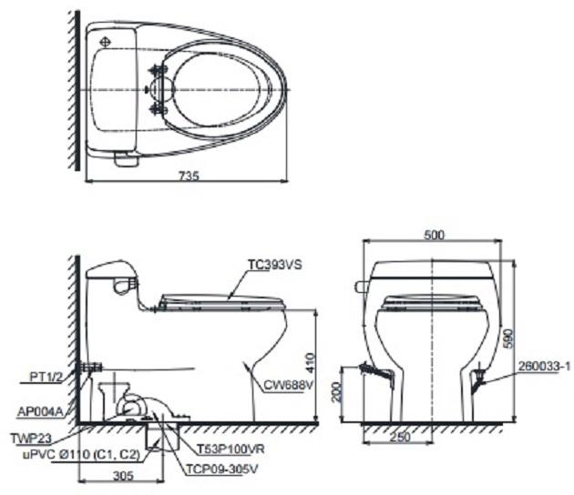Bản vẽ bồn cầu 1 khối TOTO MS688T2
