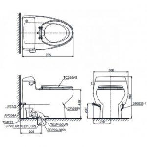 Bản vẽ bồn cầu 1 khối TOTO MS688T3
