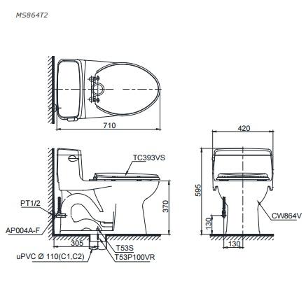 Bản vẽ bồn cầu 1 khối TOTO MS864T3