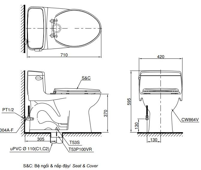 Bản vẽ bồn cầu 1 khối TOTO MS864T8