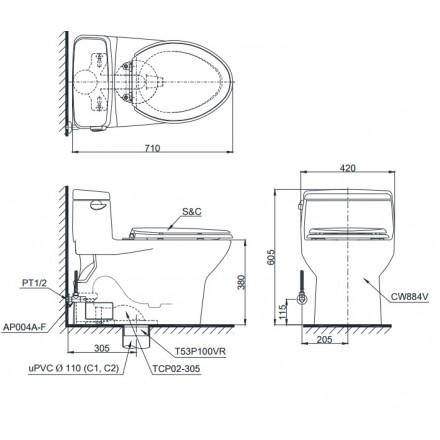 Bản vẽ bồn cầu 1 khối TOTO MS884T3