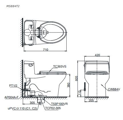 Bản vẽ bồn cầu 1 khối TOTO MS884T8