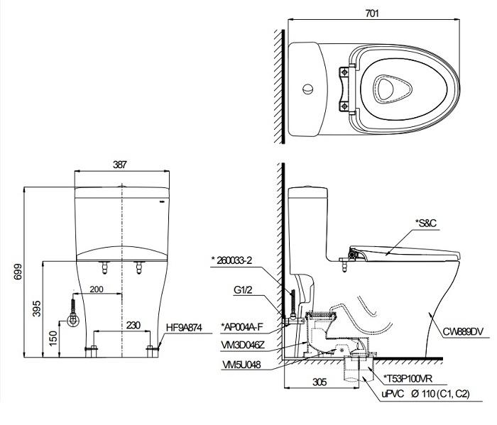 Bản vẽ bồn cầu 1 khối TOTO MS889DT2
