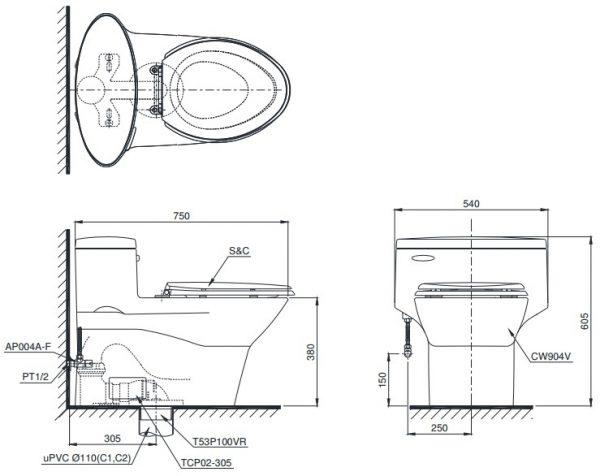 Bản vẽ bồn cầu 1 khối TOTO MS904T8