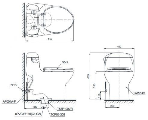 Bản vẽ bồn cầu 1 khối TOTO MS914T3
