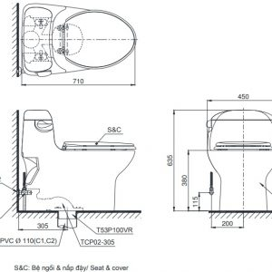 bản vẽ bồn cầu 1 khối TOTO MS914T8