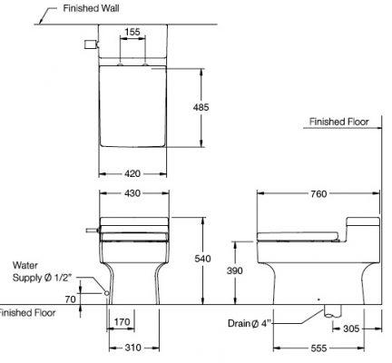Bản vẽ bồn cầu 1 khối cao cấp COTTO C10317 Quado