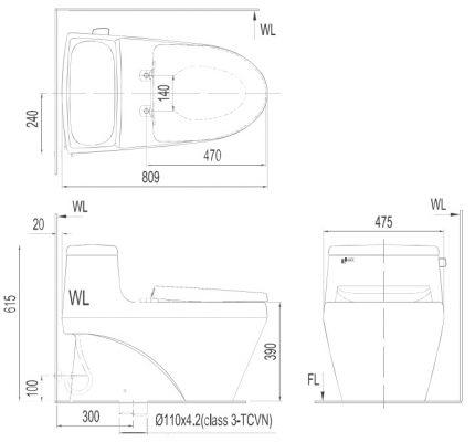 bản vẽ bồn cầu 1 khối nắp êm INAX AC-1035VN Aqua Ceramic