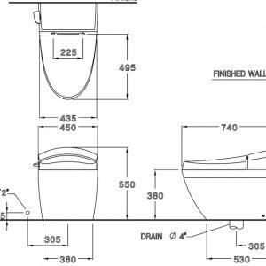 Bản vẽ bồn cầu cao cấp 1 khối COTTO C10037 Terranova