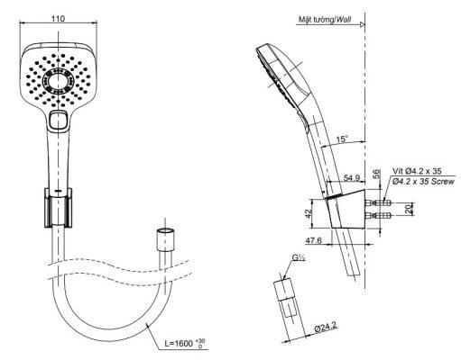 bản vẽ bát sen TOTO TBW02006A 3 chế độ massage