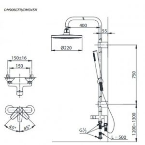 bản vẽ bộ sen cây TOTO DM345S/DM906CFS van gật gù nóng lạnh bát sen mạ