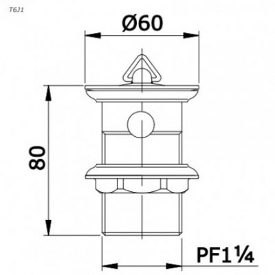 bản vẽ bộ xả lavabo TOTO T6J1 kèm nút chặn cao su