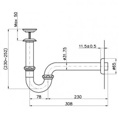 bản vẽ bộ xả lavabo kèm ống thải TOTO TVLF405
