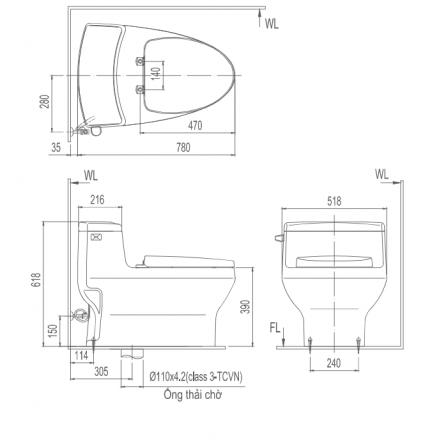 Bản vẽ bồn cầu 1 khối INAX AC-4005VN Aqua Ceramic