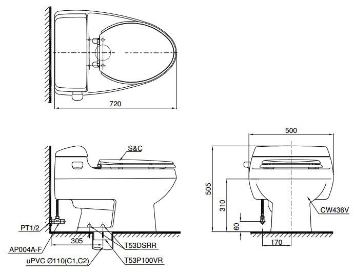 Bản vẽ thiết kế bồn cầu TOTO MS436BT2