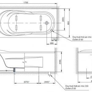 bản vẽ bồn tắm nằm TOTO PAY1775VC DB501R-2B