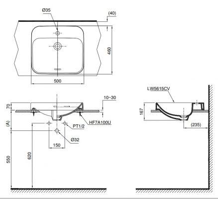 bản vẽ chậu rửa lavabo đặt bàn TOTO LT5615C