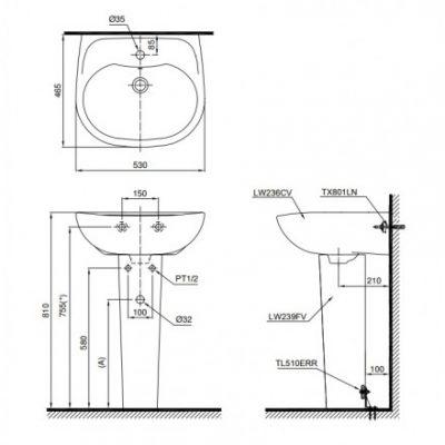 bản vẽ chậu rửa lavabo chân dài TOTO LPT236CS
