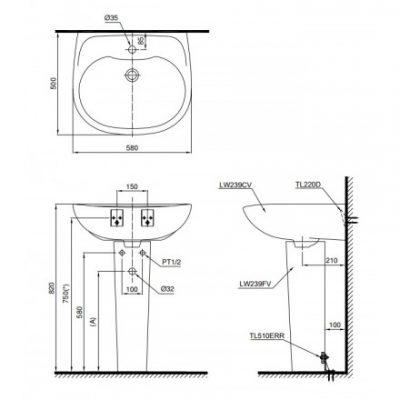 bản vẽ chậu rửa lavabo chân dài TOTO LPT239CR
