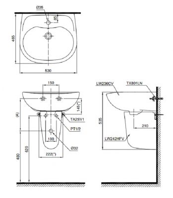 bản vẽ chậu rửa lavabo chân lửng TOTO LHT236CS