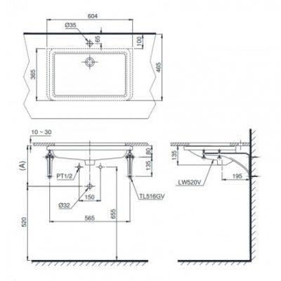 bản vẽ chậu rửa lavabo đặt âm bàn TOTO LT520T
