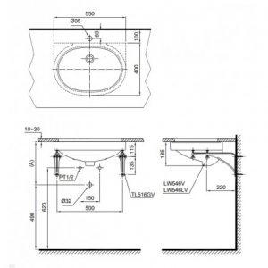 bản vẽ chậu rửa lavabo đặt âm bàn TOTO LT546