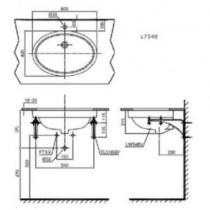 bản vẽ chậu rửa lavabo đặt âm bàn TOTO LT548