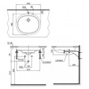 bản vẽ chậu rửa lavabo đặt âm bàn TOTO LT764