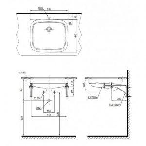 bản vẽ chậu rửa lavabo đặt âm bàn TOTO LT765