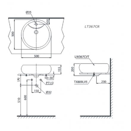 bản vẽ chậu rửa lavabo đặt bàn TOTO LT367CR