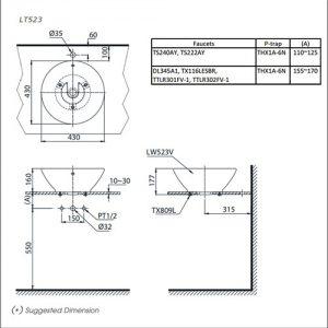 bản vẽ chậu rửa lavabo đặt bàn TOTO LT523R