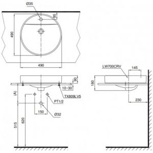 bản vẽ chậu rửa lavabo đặt bàn TOTO LT700CTR