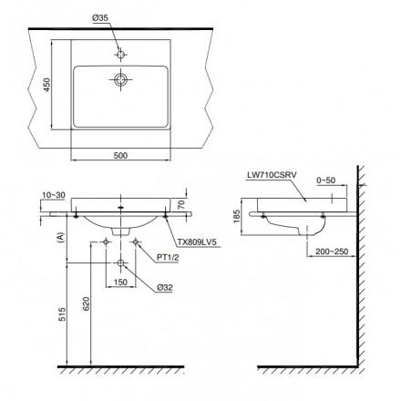 bản vẽ chậu rửa lavabo đặt bàn TOTO LT710CSR