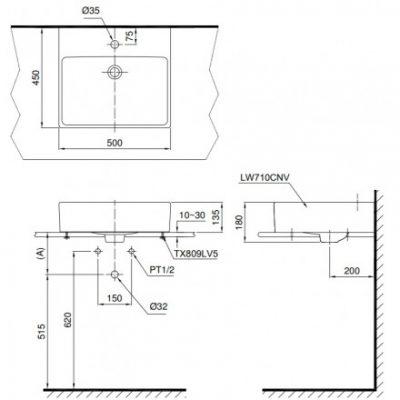 bản vẽ chậu rửa lavabo đặt bàn TOTO LT710CTR