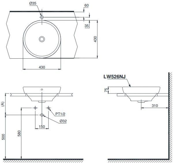 bản vẽ chậu rửa lavabo đặt bàn TOTO LW526NJ