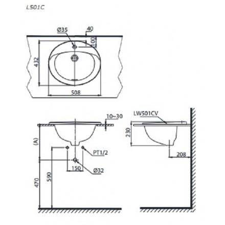 bản vẽ chậu rửa lavabo đặt dương vành TOTO L501C