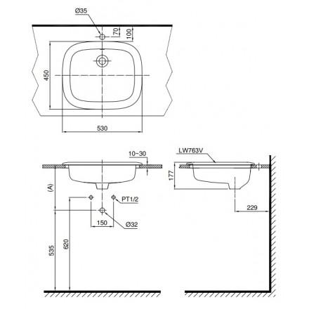 bản vẽ chậu rửa lavabo đặt dương vành TOTO L763