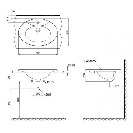 bản vẽ chậu rửa lavabo đặt dương vành TOTO L909C