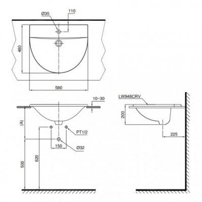 bản vẽ chậu rửa lavabo đặt dương vành TOTO L946CR