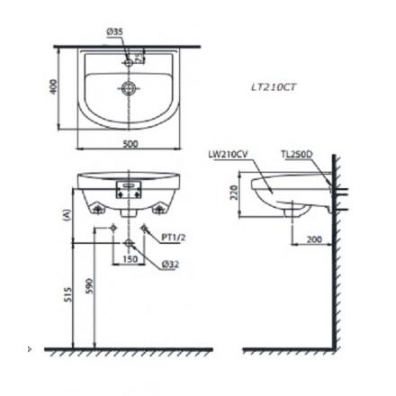 bản vẽ chậu rửa lavabo treo tường TOTO LT210CTR