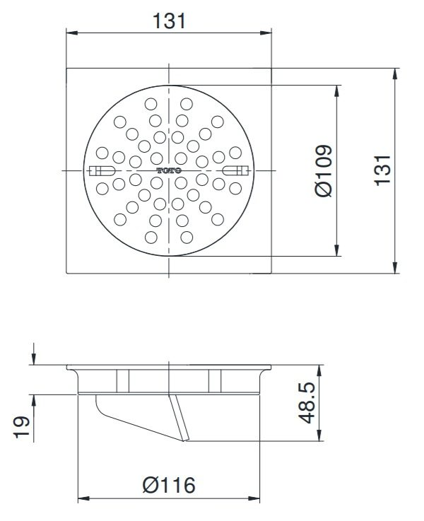 bản vẽ ga thoát sàn TOTO TX1CV2
