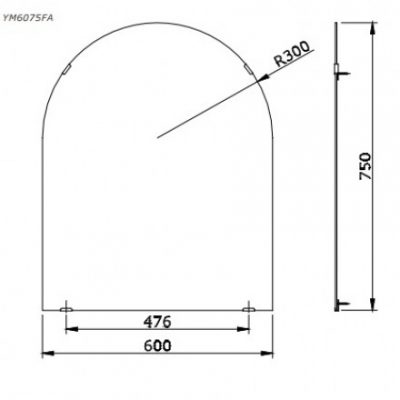 bản vẽ gương nhà tắm TOTO YM6075FA chống mốc