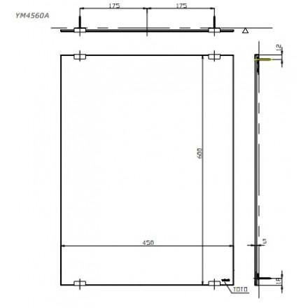 bản vẽ gương nhà tắm chống mốc TOTO YM4560A