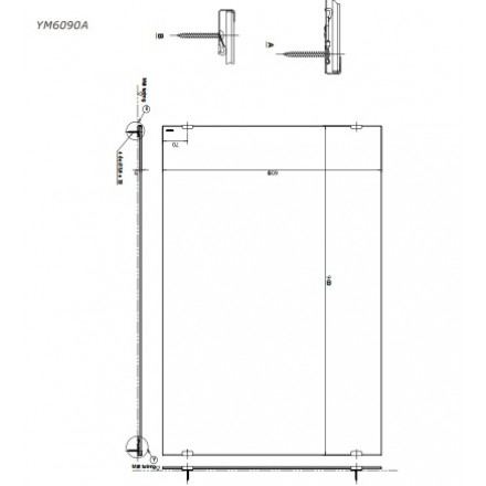bản vẽ gương nhà tắm chống mốc TOTO YM6090A