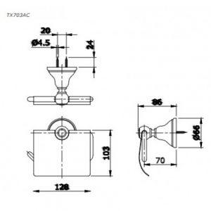 bản vẽ hộp giấy vệ sinh TOTO TX703AC