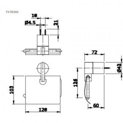 bản vẽ hộp giấy vệ sinh TOTO TX703AE