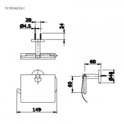 bản vẽ hộp giấy vệ sinh TOTO TX703AESV1