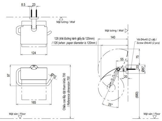 bản vẽ hộp giấy vệ sinh TOTO YH406RV
